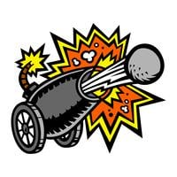 War Cannon Firing Cannonball vector icon