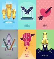 Abstract flat vector illustration of design and development concepts.