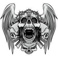 emblema agresivo con calavera vector