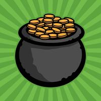 Pot of gold vector icon