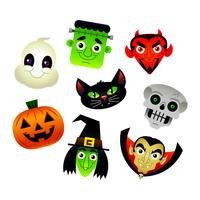 Collection of vector cartoons of various Halloween characters: Frankenstein, Devil, Black Cat, Skeleton, Jack O'Lantern, Witch, Ghost, Dracula.