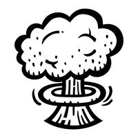 Mushroom Cloud Atomic Nuclear Bomb Explosion Fallout vector icono