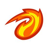 hete vlam vuurbal vector cartoon