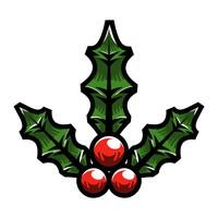 Christmas Holiday Mistletoe with Red Berries and Green Leaves vector
