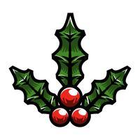 Muérdago navideño navideño con frutos rojos y hojas verdes
