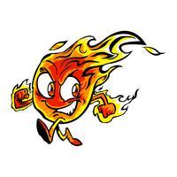 Personnage de dessin animé de flamme