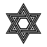 Judiska Davidsstjärnan Sex pekad stjärna i svart med interlocking stil vektorikonen