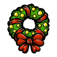 Christmas festive holiday wreath bow vector icon