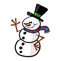 Snowman cartoon vector illustration