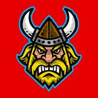 Vector illustration of a cartoon viking with a horned helmet and beard