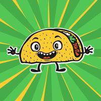 Leuke grappige Cartoon Taco vectorillustratie