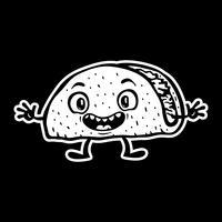 Linda ilustración de vector de divertidos dibujos animados Taco