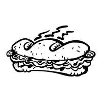 Tecknad ubåtsmörgås Lunch med bröd, kött, sallad och tomat