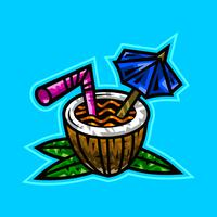 Tropical coconut drink illustration vector