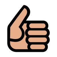 Tecknad hand gör positiva tummar upp gest