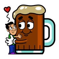 Cartoon Man Hugs Beer graphic illustration