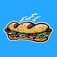 Bocadillo submarino de dibujos animados Almuerzo con pan, carne, lechuga y tomate