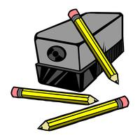 Vector illustration of an electric pencil sharpener with pencils.