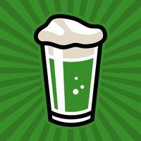 Icona di vetro verde birra irlandese verde pinta