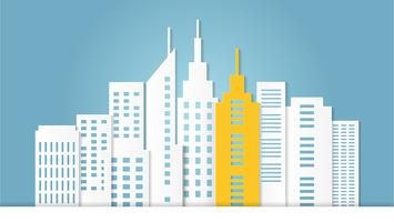 Outstanding yellow architectural building among white building. vector