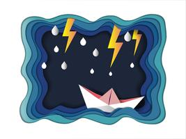 Leiderschap en succes om het doelconcept te bereiken, Boot tegen gekke zee en bliksemschicht in storm.