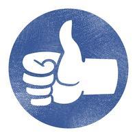 Mão de desenho animado fazendo positivo polegares para cima gesto