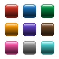 Glänzende quadratische Farbe knöpft Vektor