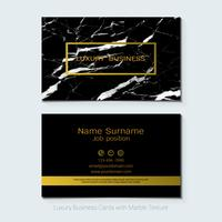 Luxury business cards vector template, Banner and cover with marble texture and golden foil details.