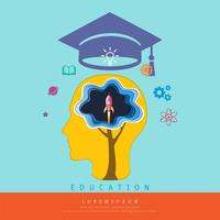 Education and learning concept, Brain thinking a launch space rocket flying, Above his head is a graduation cap and knowledge icons.
