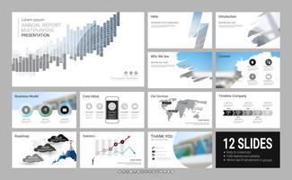 Plantilla de presentación de diapositivas para su empresa con elementos infográficos.