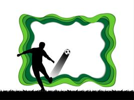 Paper art carve of soccer background with football player.
