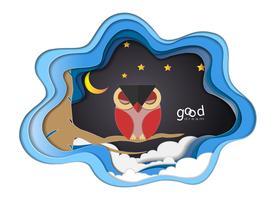 Papierkunst schnitzen vom Vogel (rote Eule) auf Baumast am Nachthintergrund, an der guten Nacht und am Schlafbrunnenkonzept.