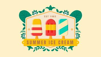 Summer Ice Cream Badge with Leaves Ornament on The Bright Background