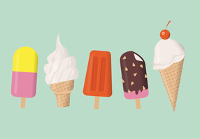 Summer Ice Cream Set Vector Illustration