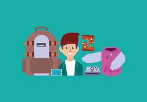 Illustrazione maschio di vettore del pacchetto degli elementi essenziali del viaggiatore