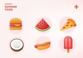 Summer Food Icon Pack Vector