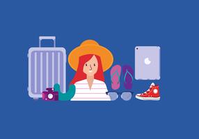 Illustrazione di vettore del pacchetto degli elementi essenziali femminili del viaggiatore