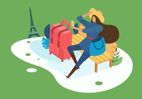 Illustrazione piana di viaggio di vettore della donna alla moda