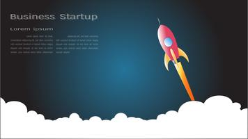 Launch space rocket flying on white background. vector