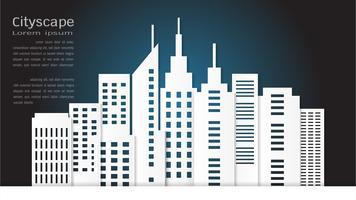 Papierkunstart für Architekturgebäude und Stadtbildhintergrund.