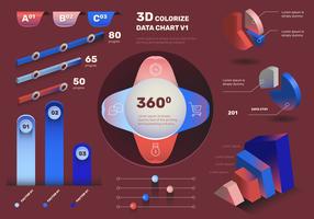 Ensemble de vecteur d'éléments modernes infographie 3D