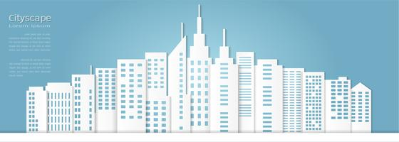 Stile di arte di carta per la costruzione architettonica e lo sfondo del paesaggio urbano.
