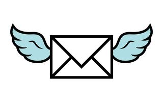 Flying Wings Envelope icon vector illustration