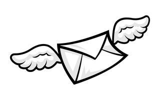 Illustrazione di vettore dell'icona della busta delle ali volanti