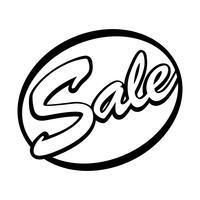 Vettore del segno del distintivo del testo di vendita