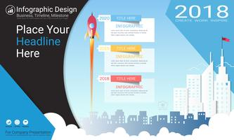 Business infographics report, Milestone timeline or Road map with Process flowchart 3 options.