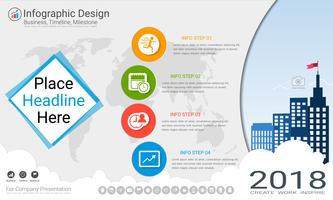 Business infographics template, Milestone timeline or Road map with Process flowchart 4 options.