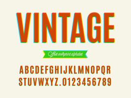 Alfabeto de sobreimpresión vintage