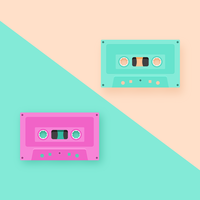 Retro Cassette Tapes Pop Background