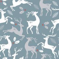 Kerstpatroon met herten. Vectortextuur voor gift verpakking, uitnodigingskaart, dekking, behang, plakboek, textiel, vakantiedecor.